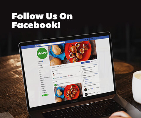 Follow Us Facebook. Laptop showing Sobeys Facebook page